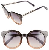 Tom Ford Women's 'Janina' 51Mm Round Sunglasses - Dark Havana/ Gradient Green