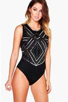 boohoo Holly Boutique Mixed Sequin Bodysuit black