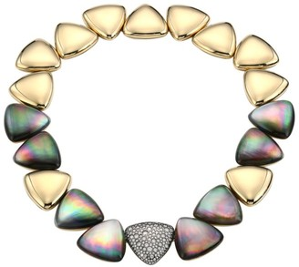 Mother of Pearl Freccia 18K Yellow Gold, Grey Mother-Of-Pearl, Rock Crystal Quartz & Diamond Necklace