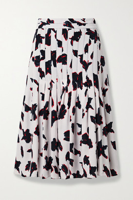 Proenza Schouler Pleated Floral-print Georgette Midi Skirt - White