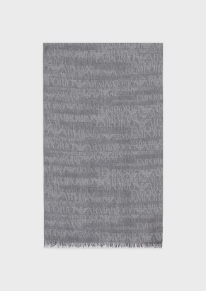 Emporio Armani Wool Blend Scarf With Jacquard Lettering