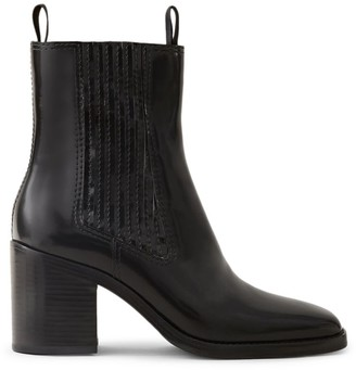 Loeffler Randall Arianna Square-Toe Leather Ankle Boots