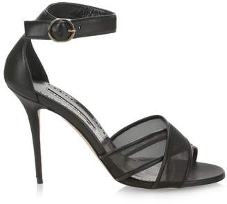 Manolo Blahnik Tama Mesh Leather Sandals