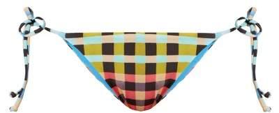 Mara Hoffman Plaid Mustard Print Tie Side Bikini Briefs - Womens - Multi