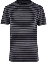 River Island MensNavy crew neck jacquard short sleeve T-shirt