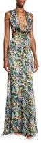 Cushnie et Ochs Floral Draped Cutout Sleeveless Gown