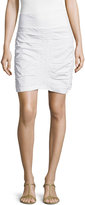XCVI Trace Ruched Mini Skirt, White