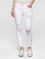 Calvin Klein Ultimate Skinny Destructed White Ankle Jeans