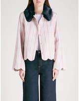 Shrimps Bruna faux-fur collar cotton jacket