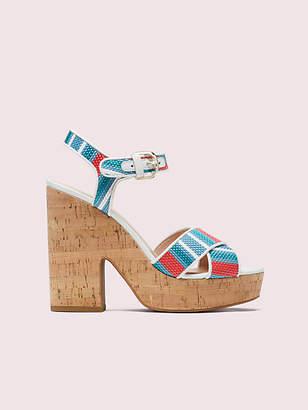 Kate Spade Grace Striped Raffia Platform Sandals