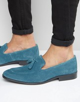 Asos Loafers in Blue Suede With Tassel