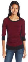 Amy Byer A. Byer Juniors 3/4 Sleeve Crew Neck Color Block Sweater with Lace