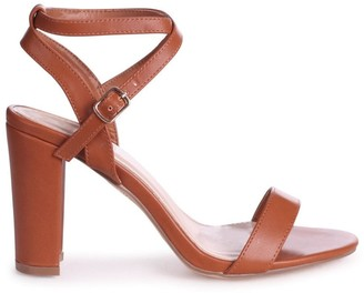 Linzi TRUE LOVE - Tan Nappa Block Heeled Sandal With Crossover Ankle Strap