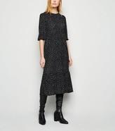 New Look Spot Tiered Smock Midi Dress