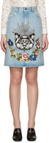Gucci Blue Denim Embroidered Skirt