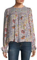 Velvet Malia High-Neck Floral-Print Top