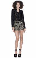 Alice + Olivia Marisa Embroidered Back Zip Shorts