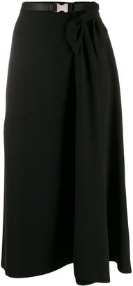 Prada Belted Draped Mid-Length Skirt