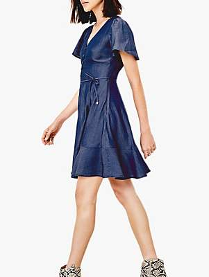Oasis Button Skater Denim Dress, Dark Wash Blue