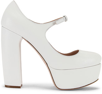 Miu Miu Plain Mary Jane Platform Heels in White | FWRD