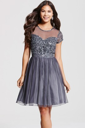 Little Mistress Footwear Grey Fit and Flare Embellished Dress