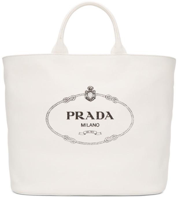 0c17ec8fbee4 Prada Canvas Tote Bag - ShopStyle