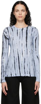 Proenza Schouler Blue and Black Jersey Tie-Dye T-Shirt