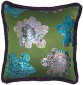 Dahlia Stranger Than Them Quilted Green Metallic Floral Jacquard Square Cushion