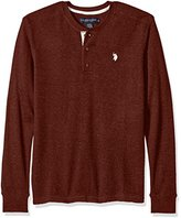 U.S. Polo Assn. Men's Long Sleeve Slim Fit Fleck Thermal Henley Pullover