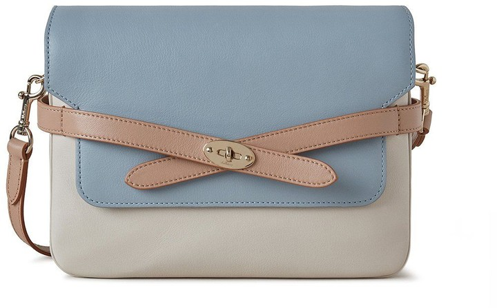 Mulberry Belted Bayswater Satchel Cloud, Chalk and Light Salmon Silky Calf