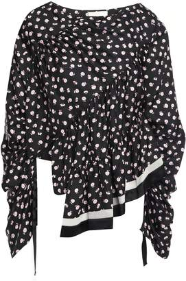 3.1 Phillip Lim Asymmetric Gathered Floral-print Silk-twill Blouse