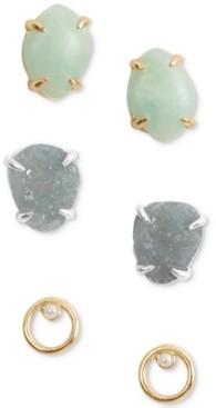Lucky Brand Two-Tone 3-Pc. Set Stone & Imitation Pearl Stud Earrings
