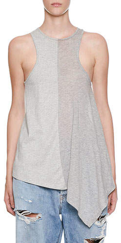 Unravel Two-Tone Draped Jersey Hybrid Racer Tank