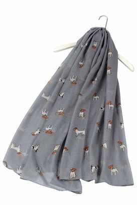 FUREVER GIFTS Jack Russell Terrier Dog Print Womens Lightweight Cotton Grey Scarf Shawl Adorable Gift