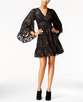 Betsey Johnson Metallic Angel-Sleeve Peasant Dress