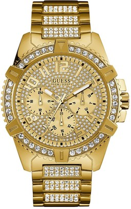GUESS Frontier Gold Crystal Set Multi Dial Gold Crystal Set Stainless Steel Bracelet Mens Watch