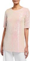 Caroline Rose Plus Size Sequin Knit Easy Tee