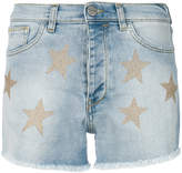 Pinko metallic star denim shorts