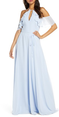 Marchesa Cold Shoulder Chiffon Bridesmaid Gown