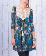 Blue & Cream Lace-Bib Half-Sleeve Tunic