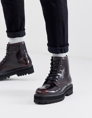 Asos Design DESIGN lace up brogue boots in burgundy faux leather with raised chunky black sole-Red