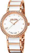 Folli Follie Checkmate ceramic and rose-gold plated stainless steel watch