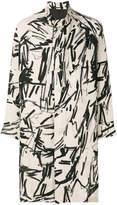 Yohji Yamamoto contrast-print midi coat