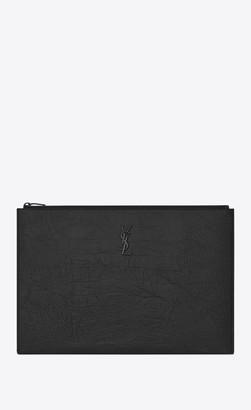 Saint Laurent Monogram Document Holder In Crocodile Embossed Leather Black Onesize