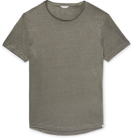 Orlebar Brown Ob-t Slim-fit Slub Linen-jersey T-shirt - Gray green