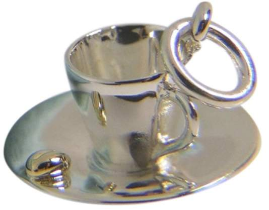 Tiffany & Co. Picasso 925 Sterling Silver 18K Yellow Gold Espresso Coffee Cup Charm