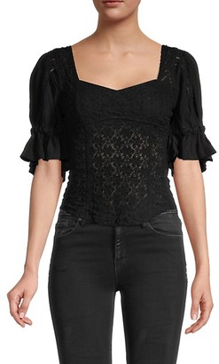 Free People Lace Puff-Sleeve Top