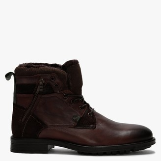 Daniel Stont Brown Leather Fleece Lined Ankle Boots