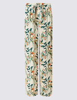 M&S Collection Printed Hammered Wide Leg Trousers