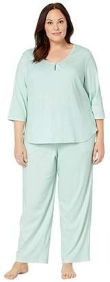 Karen Neuburger Plus Size Marie Antoinette 3/4 Sleeve Henley Long PJ (Diamond Mint) Women's Pajama Sets